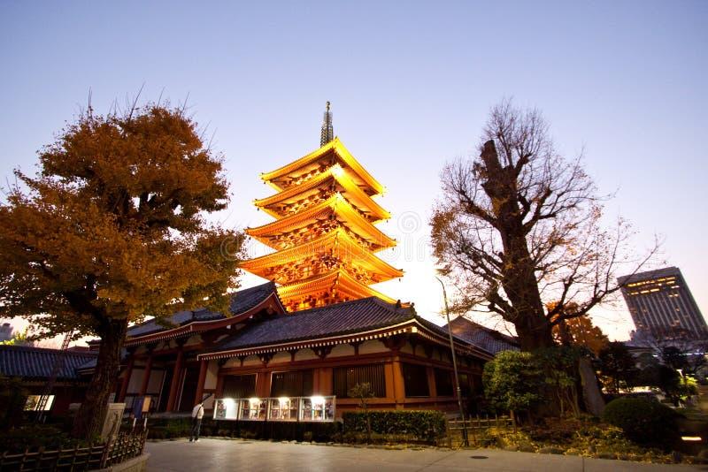 日本塔sensoji结构寺庙 免版税库存图片