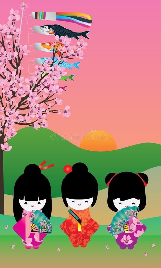 日本女孩樱桃树Koinobori卡片 皇族释放例证