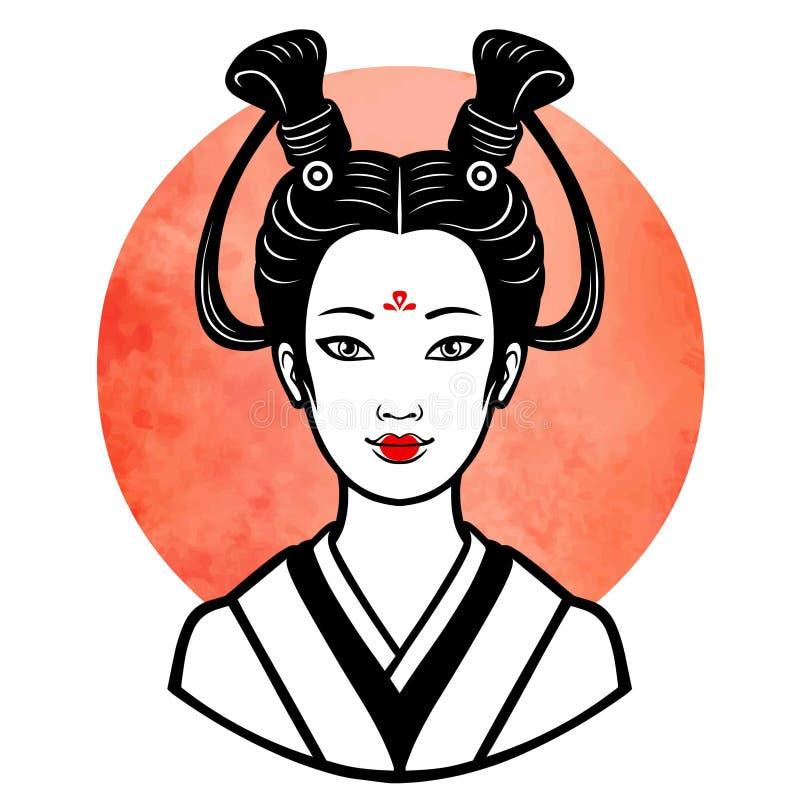 年轻日本女孩的现实画象一种古老发型 艺妓, maiko,公主 向量例证