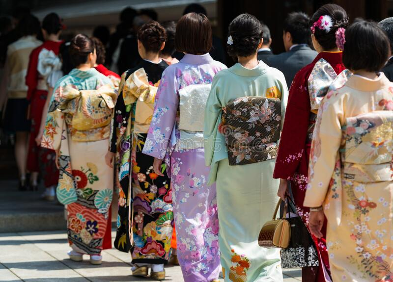 日本婚礼游行 免版税库存图片