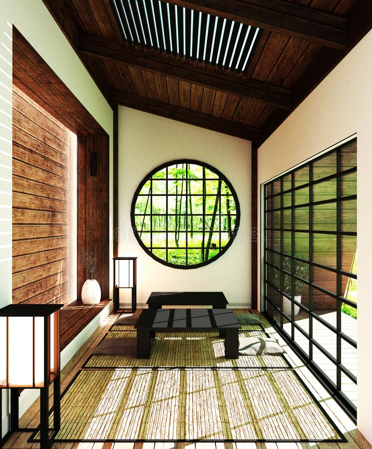 日本室-有窗口、门、桌和地板的,设计装饰日本风格,3D现代客厅的嘲笑翻译 库存例证