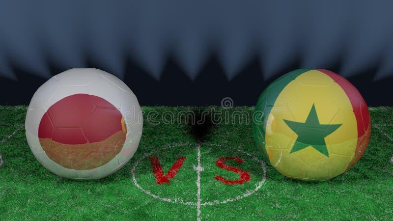 日本对塞内加尔 2018年世界杯足球赛 原始的3D图象 库存例证