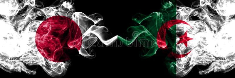 日本对阿尔及利亚,肩并肩被安置的阿尔及利亚的发烟性神秘的旗子 厚实色柔滑抽阿尔及利亚的组合,阿尔及利亚和 库存例证
