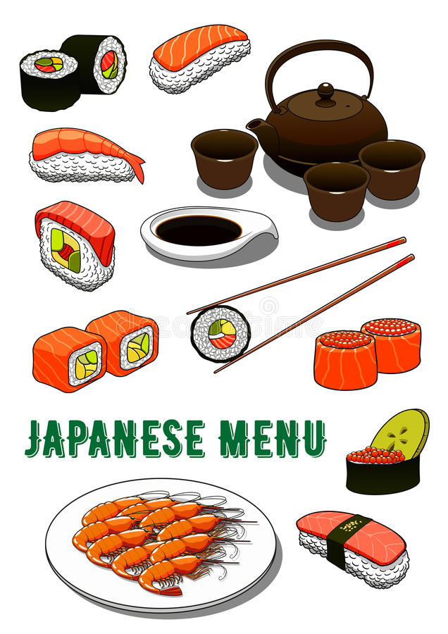 日本寿司、烤大虾、酱油和茶 皇族释放例证