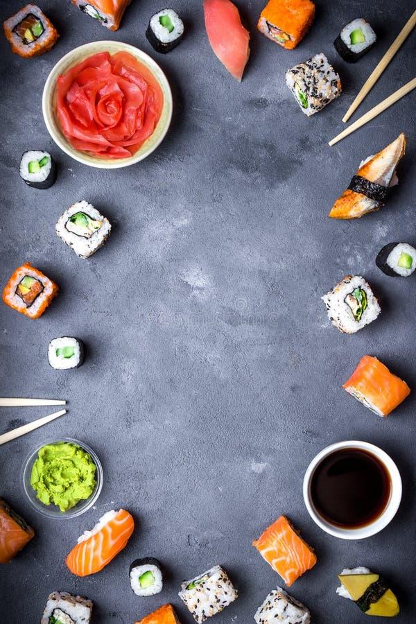 日本寿司背景 免版税库存图片