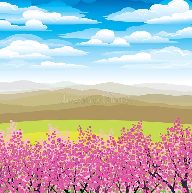 日本山桃红色结构树 向量例证