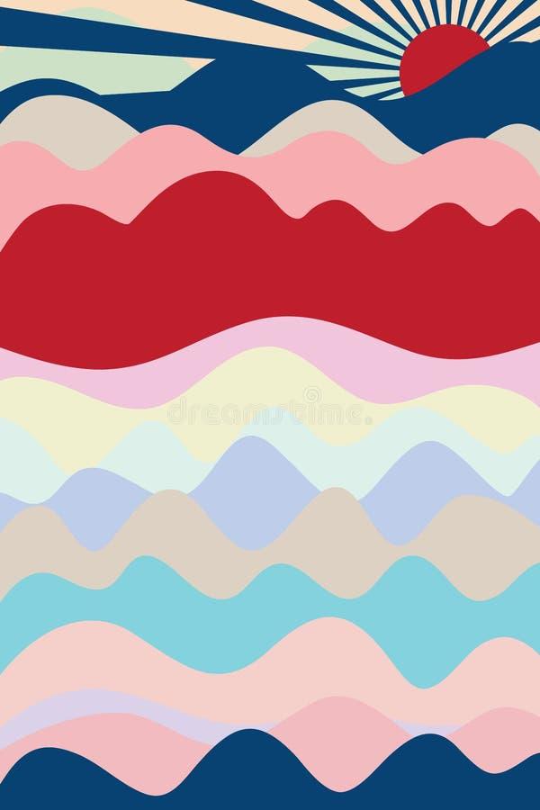 日本山海波浪盖子空间 库存例证