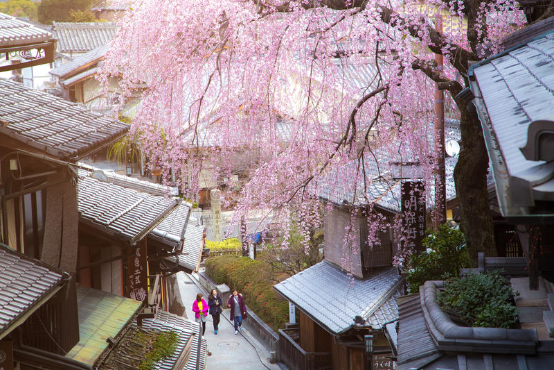 日本巷道的未认出的人在Higashiyama区 库存图片
