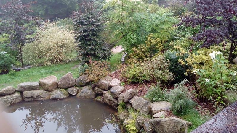 日本庭院在波兰 库存图片