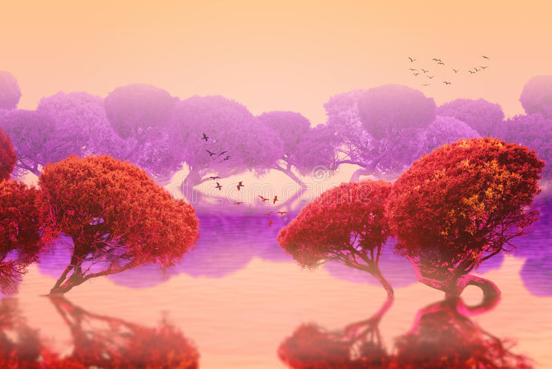 日本庭院平安的风景  免版税图库摄影