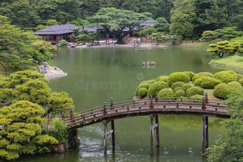 日本庭院鸟瞰图  库存图片
