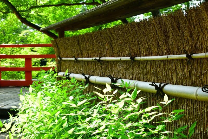日本庭院` s竹篱芭在春天,京都日本 免版税库存图片