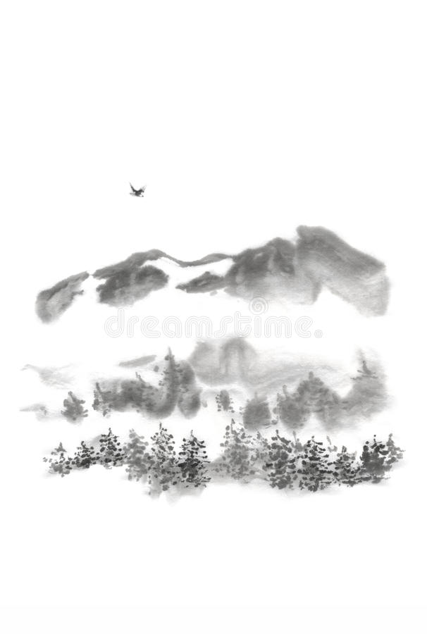 日本式sumi-e山鸟墨水绘画 免版税库存图片