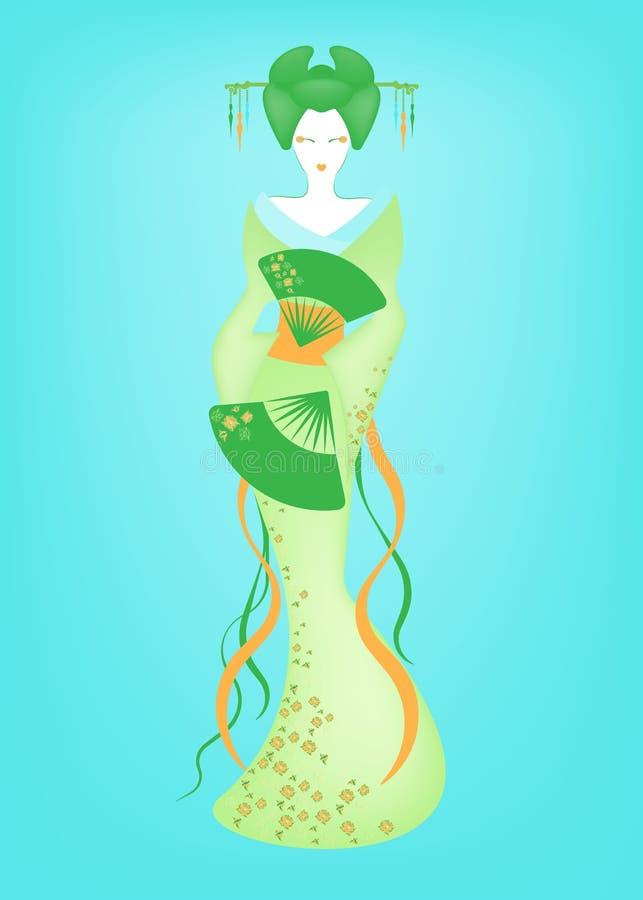 日本或亚裔女孩,与日本和服的传统风格, madama蝴蝶样式画象  五颜六色传统的艺妓 皇族释放例证