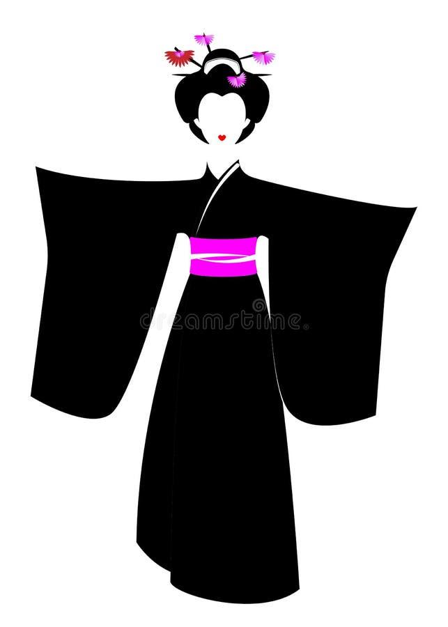 日本或亚裔女孩,与日本和服的传统风格, madama蝴蝶样式画象  传统艺妓服装 向量例证