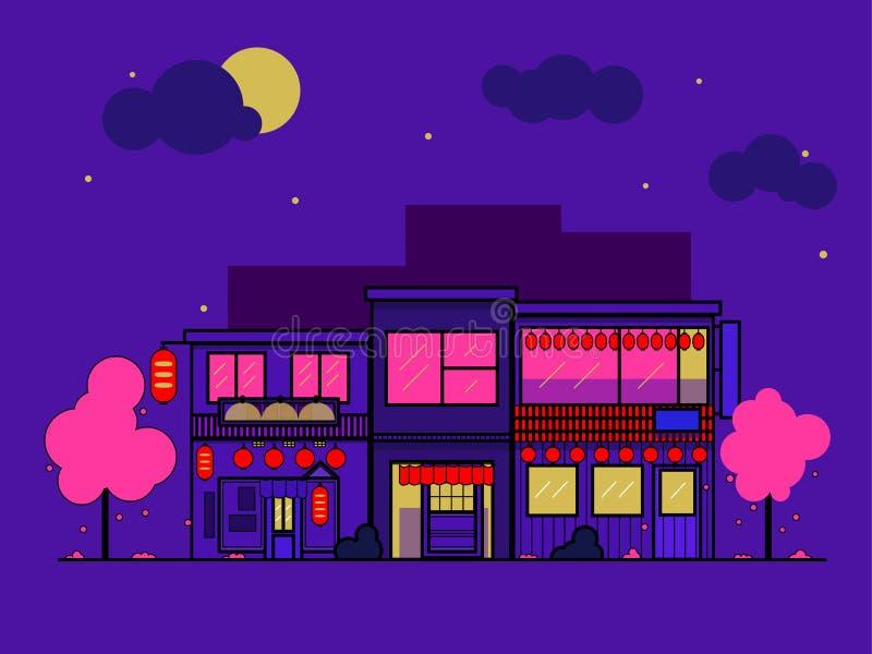 日本房子夜 大厦的平的平的例证 背景黑色图标氖安置了六样式 春天和佐仓 皇族释放例证