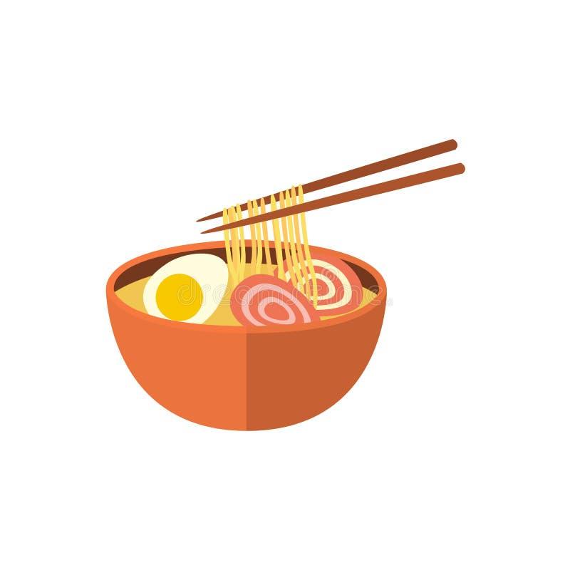 日本拉面汤和筷子,平的象 皇族释放例证