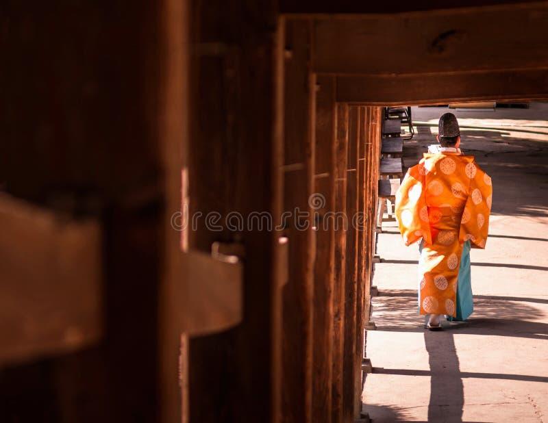日本教士- Onmyoji - Kibitsu Jinja寺庙-冈山 库存图片