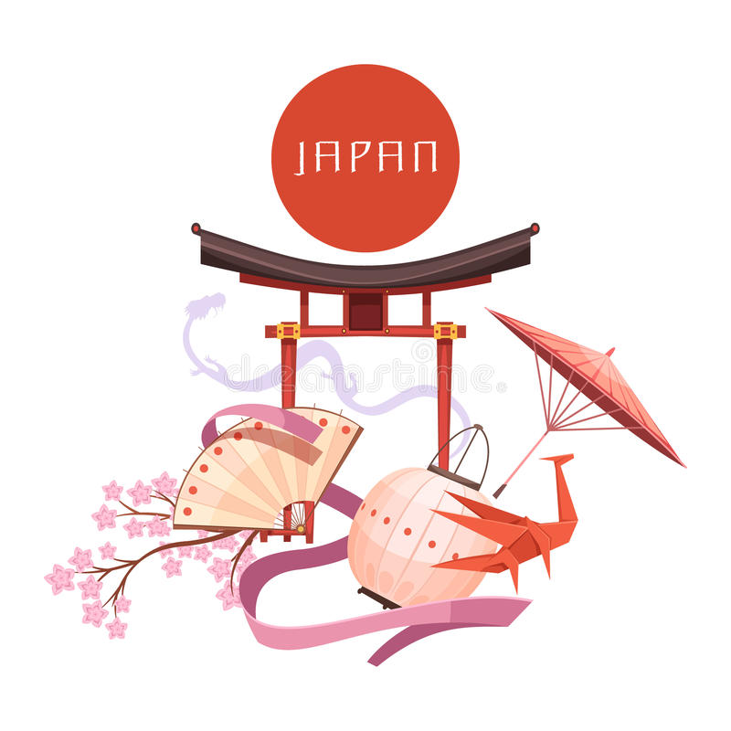 日本文化元素减速火箭的动画片例证 库存例证