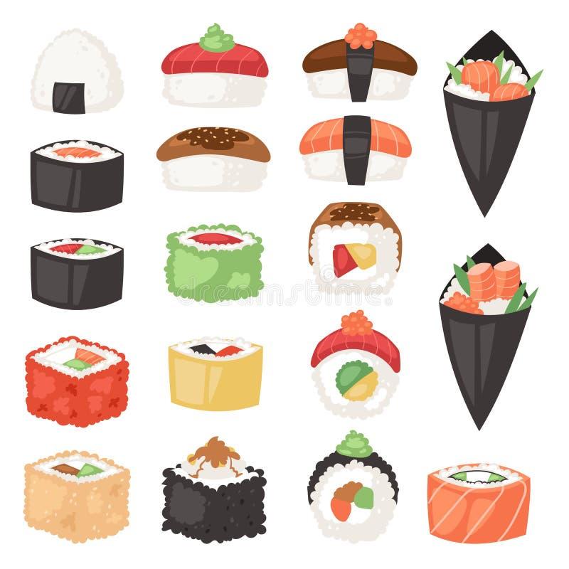 日本料理寿司生鱼片卷或nigiri和开胃菜用海鲜米在日本餐馆例证Japanization 向量例证