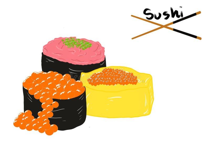 日本料理样式,在亚洲餐馆菜单的白色背景隔绝的设置了寿司 向量例证