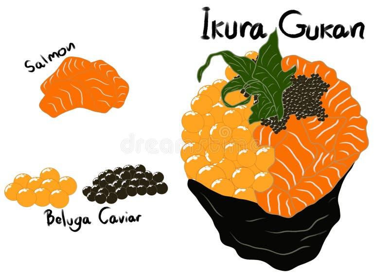 日本料理样式,寿司三文鱼卷冠上用被隔绝的三文鱼鸡蛋 皇族释放例证