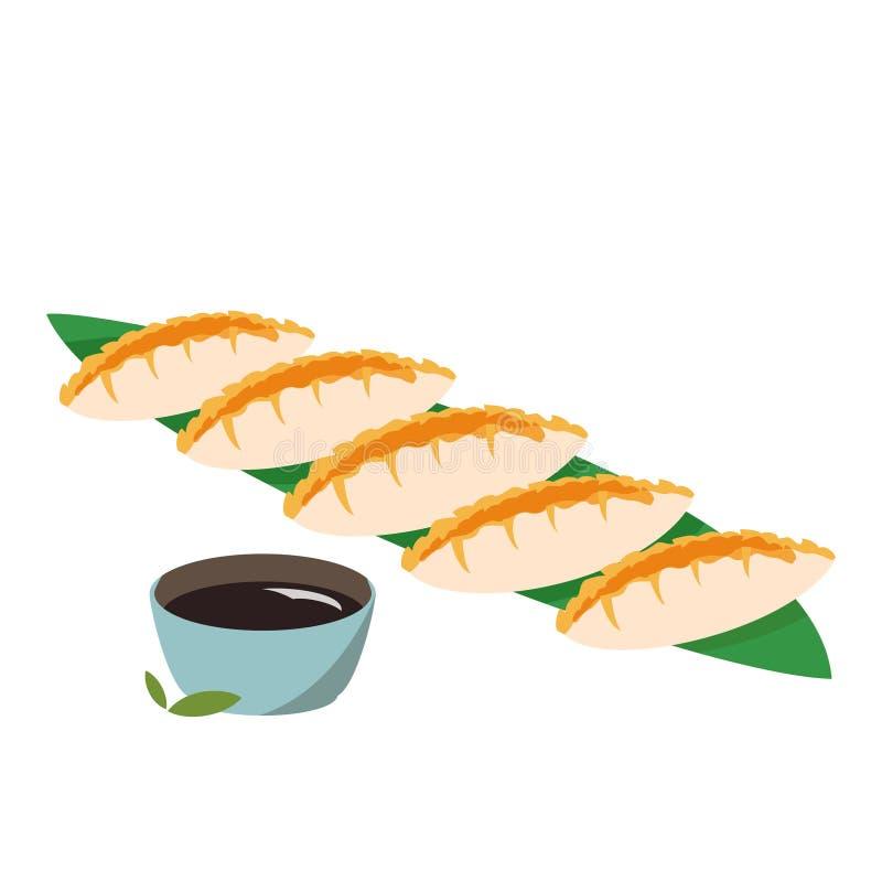 日本料理饺子 五颜六色的gedza亚洲膳食 皇族释放例证