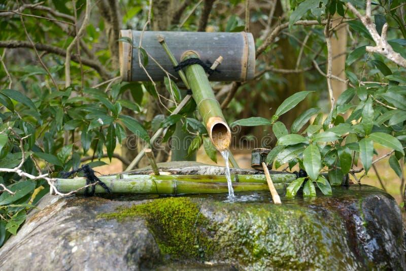 日本旅行日本竹喷泉噪声制造商2018年4月 库存照片