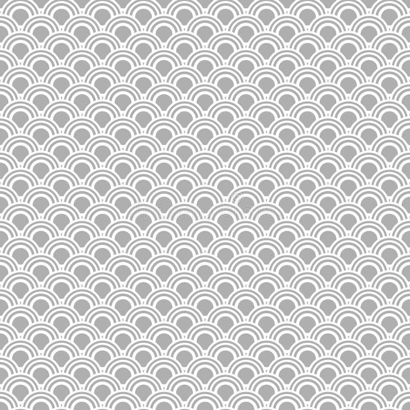 日本无缝的传染媒介样式 传统东方波浪背景 灰色白色 向量例证