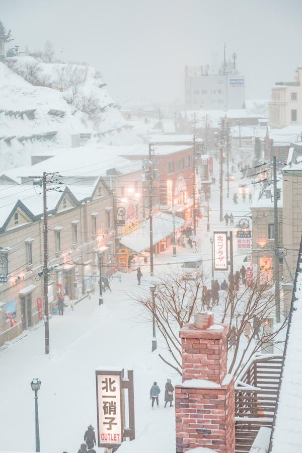 日本札幌市小樽暴风雪日街 免版税库存照片