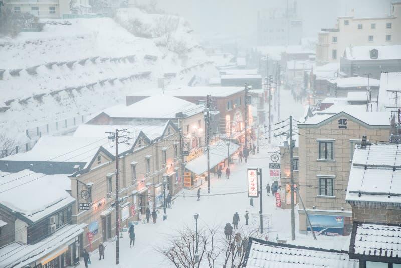 日本札幌市小樽暴风雪日街 图库摄影