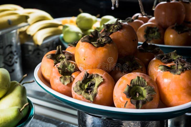 日本柿子-柿属亚洲柿树-亚洲柿子 免版税库存照片
