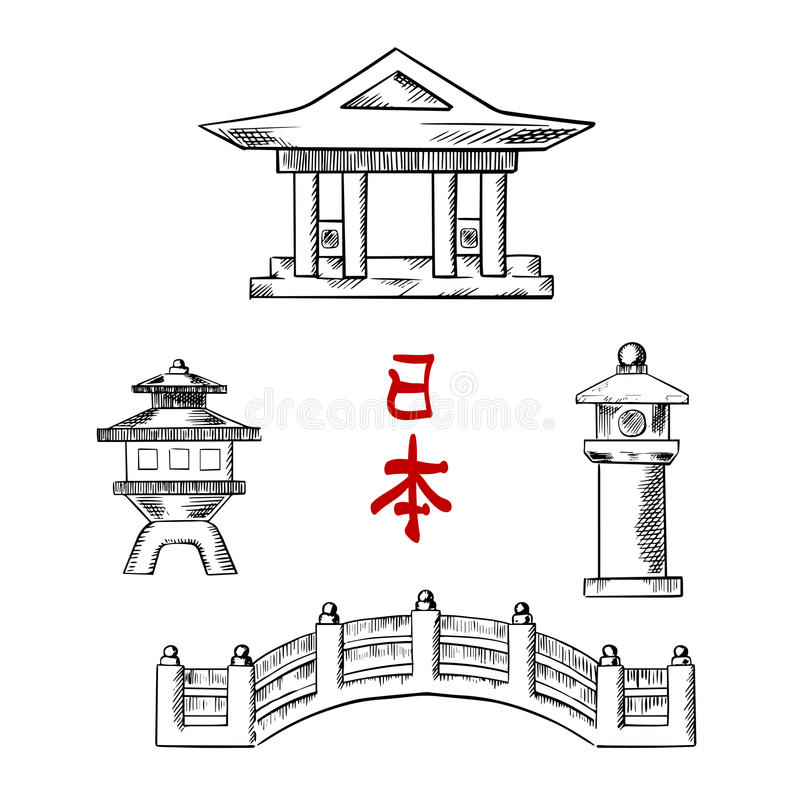 日本桥梁、寺庙和石头灯笼 库存例证