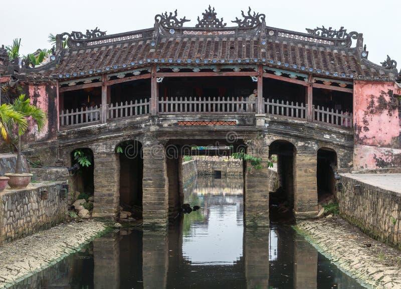 日本桥梁和寺庙在的Hoi,越南。 库存照片