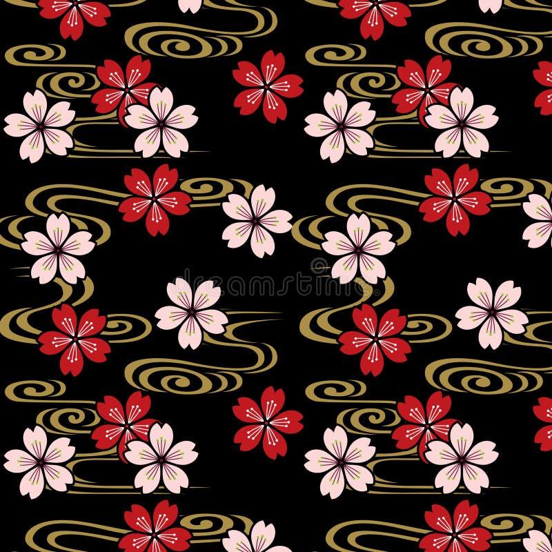 日本樱花和小河样式 库存例证