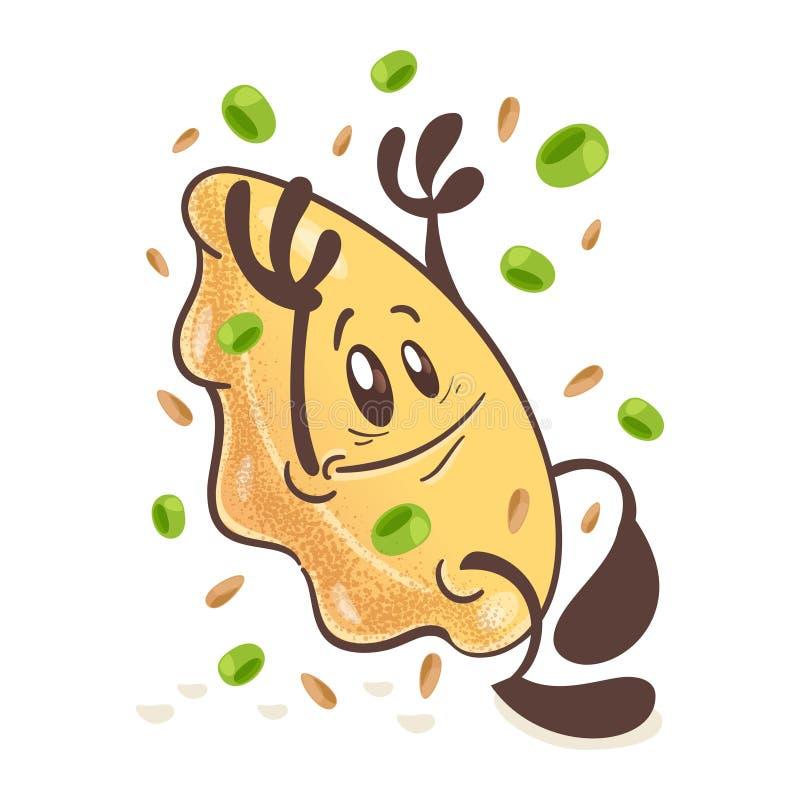 日本油煎的饺子Gyoza Ð ¡ artoon字符 围拢由香料 在空白背景 向量 库存例证