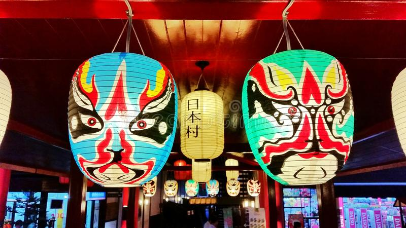 日本灯五颜六色的光 免版税库存图片