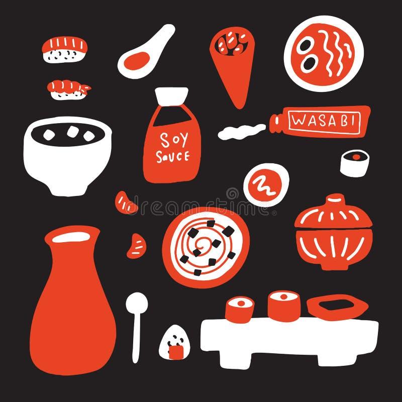 日本烹调传染媒介例证 手拉的食物 查出在黑色背景 皇族释放例证
