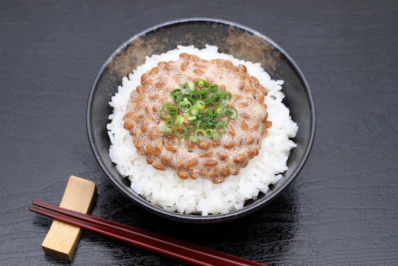 日本煮熟的米和Natto 免版税图库摄影