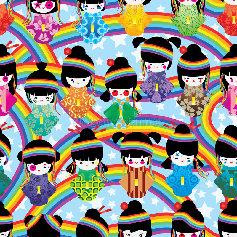 日本玩偶女孩原宿彩虹无缝的样式 皇族释放例证