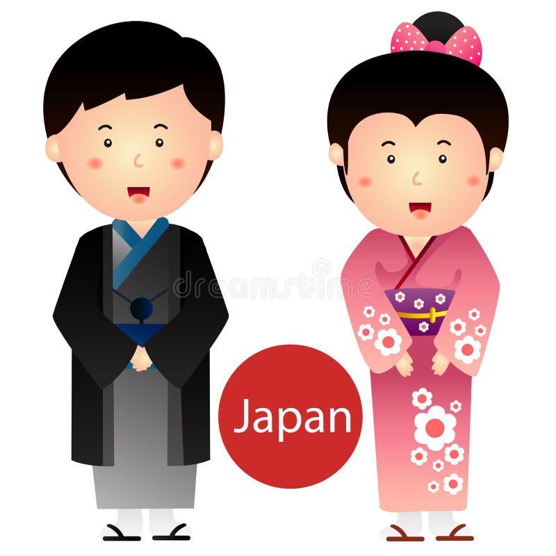 日本男孩的以图例解释者和女孩在白色背景导航隔绝 皇族释放例证