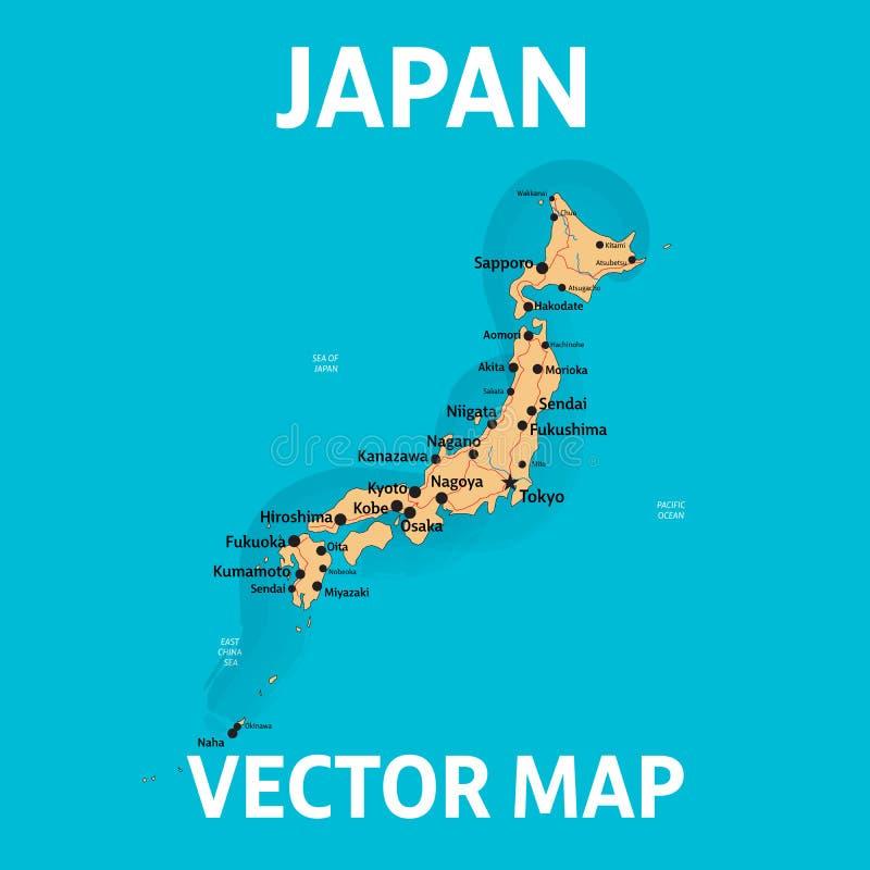 日本的传染媒介地图有城市和路的在分开的层数 皇族释放例证