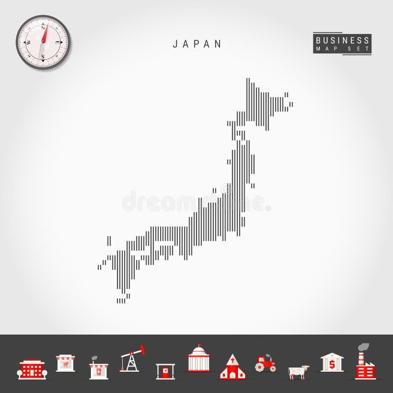 日本的传染媒介垂直线地图 日本的镶边剪影 现实指南针 r 库存例证