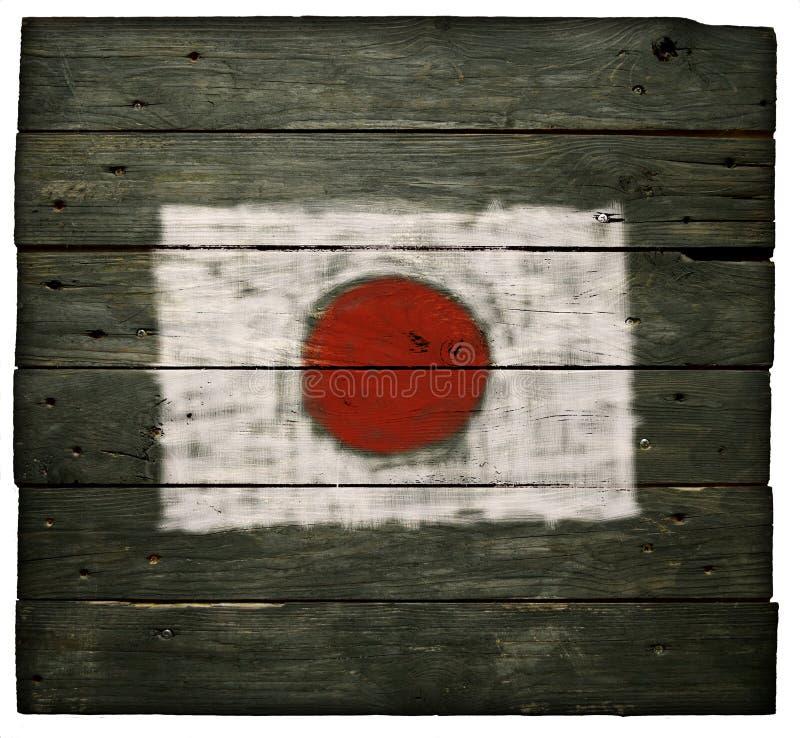 日本的旗子木头的 免版税库存照片