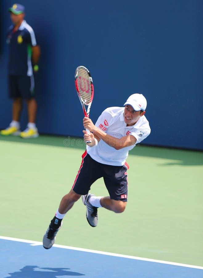 从日本的职业网球球员锦织圭在美国公开赛2014比赛期间 库存图片