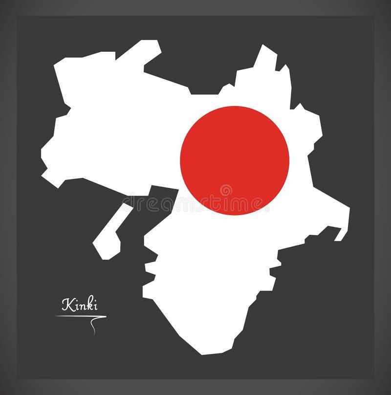 日本的近畿地图有日本国旗例证的 库存例证