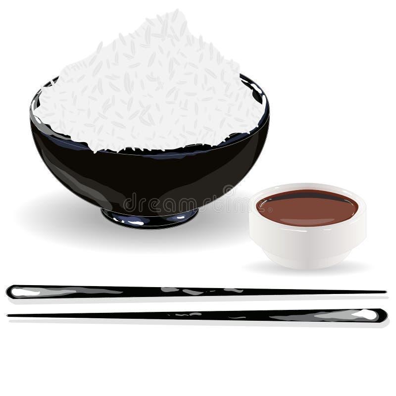 日本米Donburi/碗/杯的烹调、例证和酱油 皇族释放例证