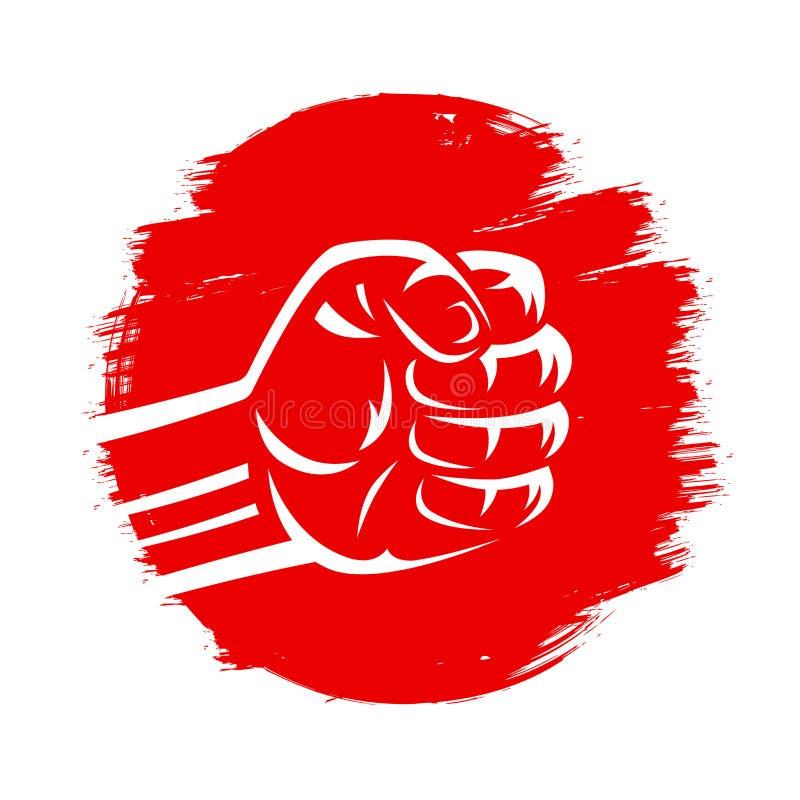 日本红旗太阳握紧的战斗被混合的武术空手道举拳头 向量例证