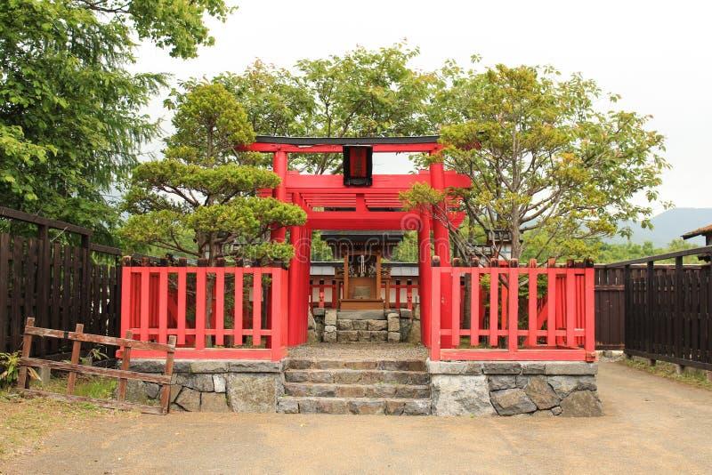 日本红色寺庙建筑学 免版税库存照片