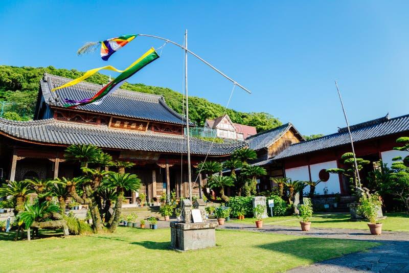 日本老木architectureKofukuji寺庙在长崎,九州,日本 图库摄影